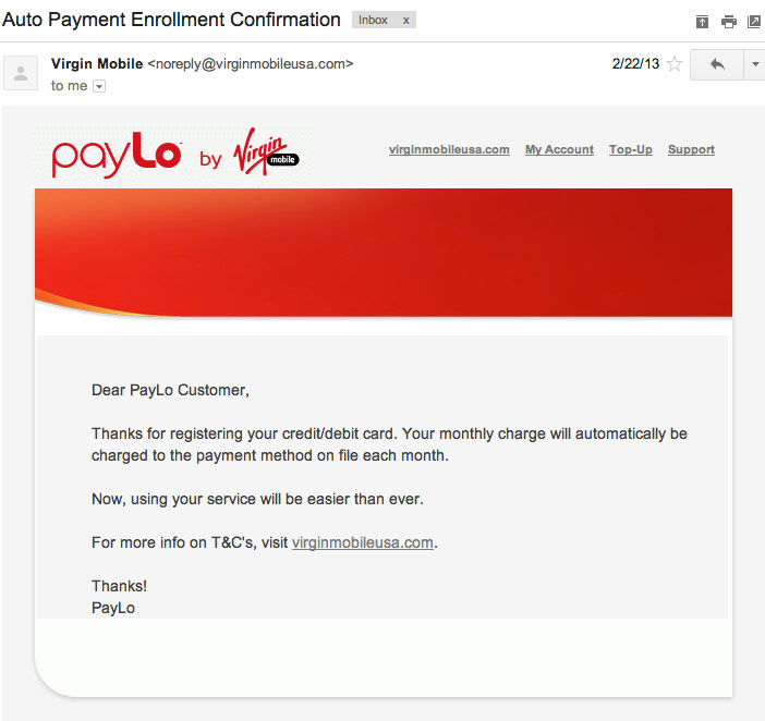 Payment Confirmation Emails. virginMobilePaylo. Virgin Mobile Payment  Confirmation Email